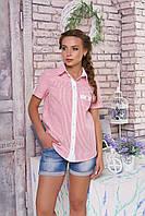 """Легкая женская блузка-рубашка в полоску короткий рукав с подворотами """"Кантри"""" (полоса красная)"""