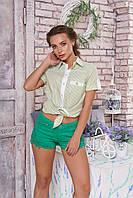 """Легкая женская блузка-рубашка в полоску короткий рукав с подворотами """"Кантри"""" (полоса салатовая)"""