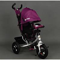 Детский трёхколёсный велосипед 6588В малиновый, серебристая рама, дитячий велосипед