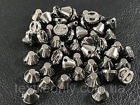 Шипы пластиковые тупые пришивные цвет темный никель (small) 8х5 мм