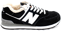Мужские зимние кроссовки New Balance 574 Winter Нью Баланс 574 с мехом черные