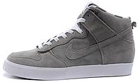 Мужские высокие кроссовки с мехом Nike Dunk SB High Suede Найк Данк серые