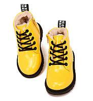 Детские зимние лакированные ботинки желтые Киев