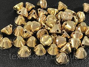 Шипы пластиковые тупые пришивные цвет золото 8х5 мм