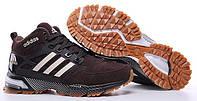 Мужские зимние кроссовки Adidas Winterboots High Адидас с мехом коричневые