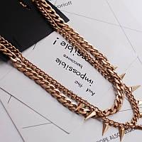 Стильное женское металлическое позолоченное колье H&M