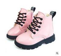 Модные детские зимние лакированные ботинки розовые Киев