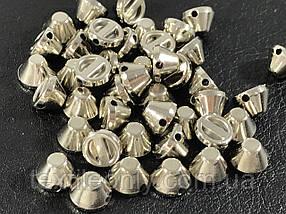 Шипи пластикові тупі пришивні колір срібло 8х5 мм