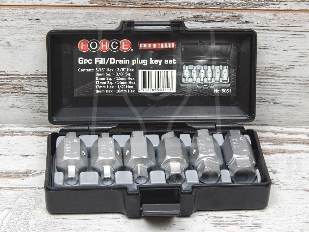 Набор для откручивания сливных пробок FORCE 5061 6 пр.