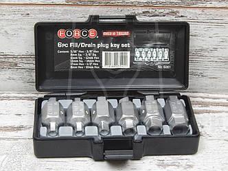 Набор для откручивания сливных пробок FORCE 5061 6 пр., фото 2