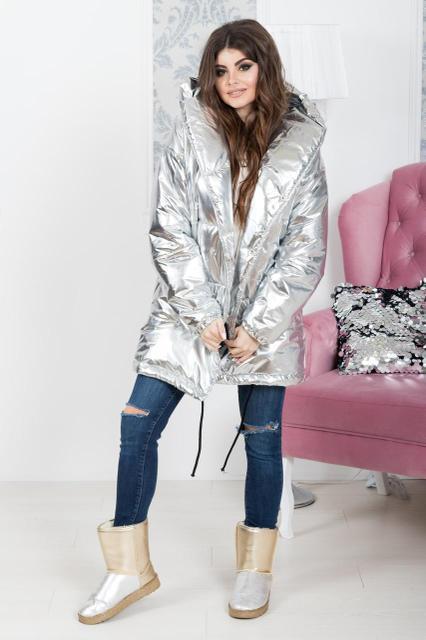 Женская серебряная куртка с капюшоном 882154 (норма)