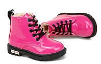 Модные детские зимние лакированные ботинки малиновые Киев