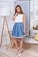 """Красивая женская джинсовая юбка со складками и кружевом внизу, в мелкий принт """"Мия"""" 24"""