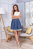 """Красивая женская джинсовая юбка со складками и кружевом внизу, в мелкий принт """"Мия"""" 23"""