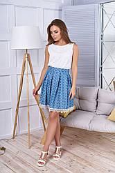 """Красивая женская джинсовая юбка со складками и кружевом внизу, в мелкий принт """"Мия"""" 28"""