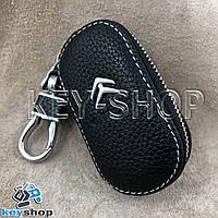 Ключница карманная (кожаная, черная, на молнии, с карабином, с кольцом), логотип авто Citroen (Ситроен)