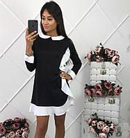Женское стильное прямое платье с бело отделкой и воротником трикотаж джерси и креп-костюмка(4 цвета) С, марсала