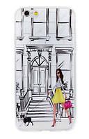 """Чехол силиконовый защитный для смартфонов Iphone 6 / 6s """"Девушка в желтом платье"""""""