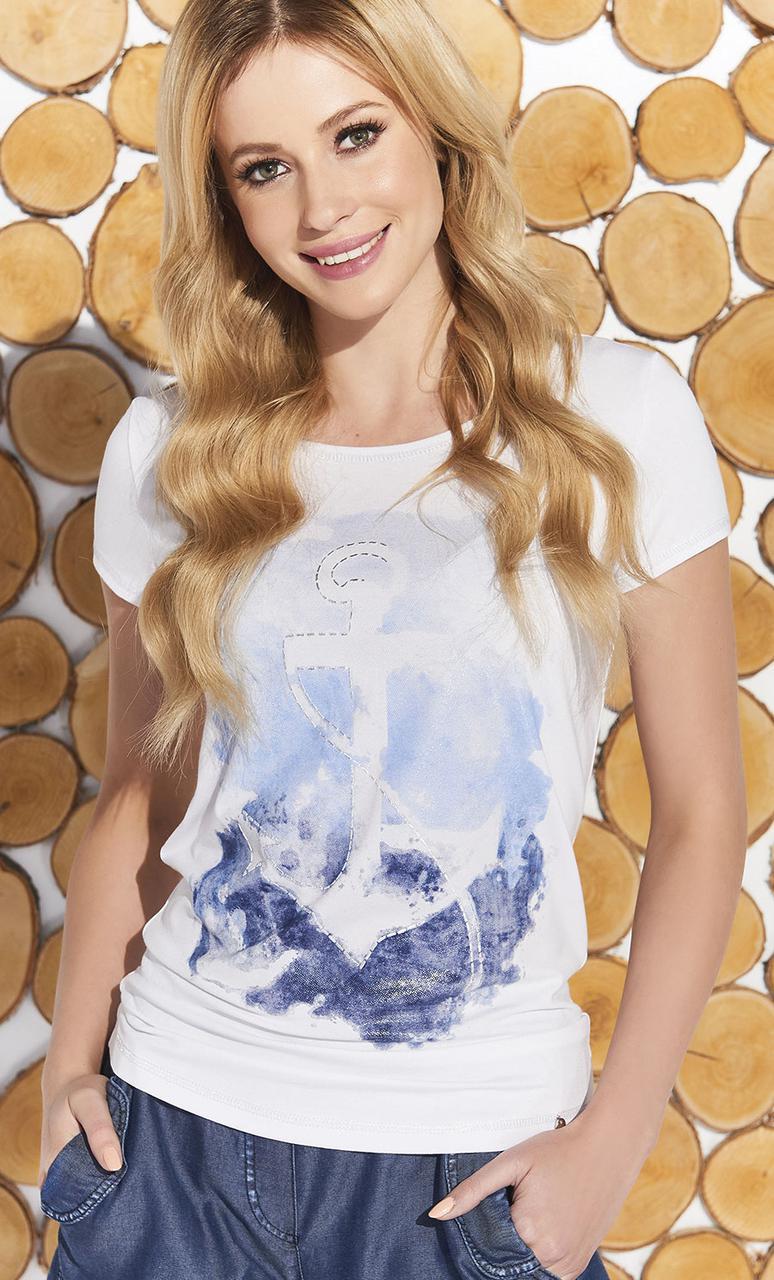 Летняя блуза белого цвета с рисунком якорь. Модель Meg Zaps, коллекция весна-лето