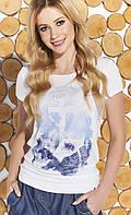Летняя блуза белого цвета с рисунком якорь. Модель Meg Zaps, коллекция весна-лето, фото 1