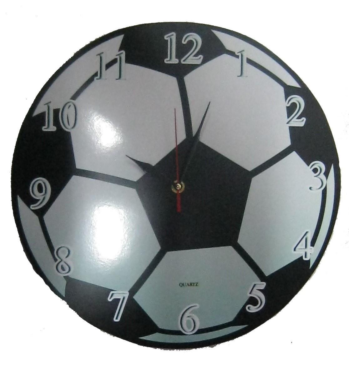 """Настенные часы """"Футбольный мяч"""" из стекла"""