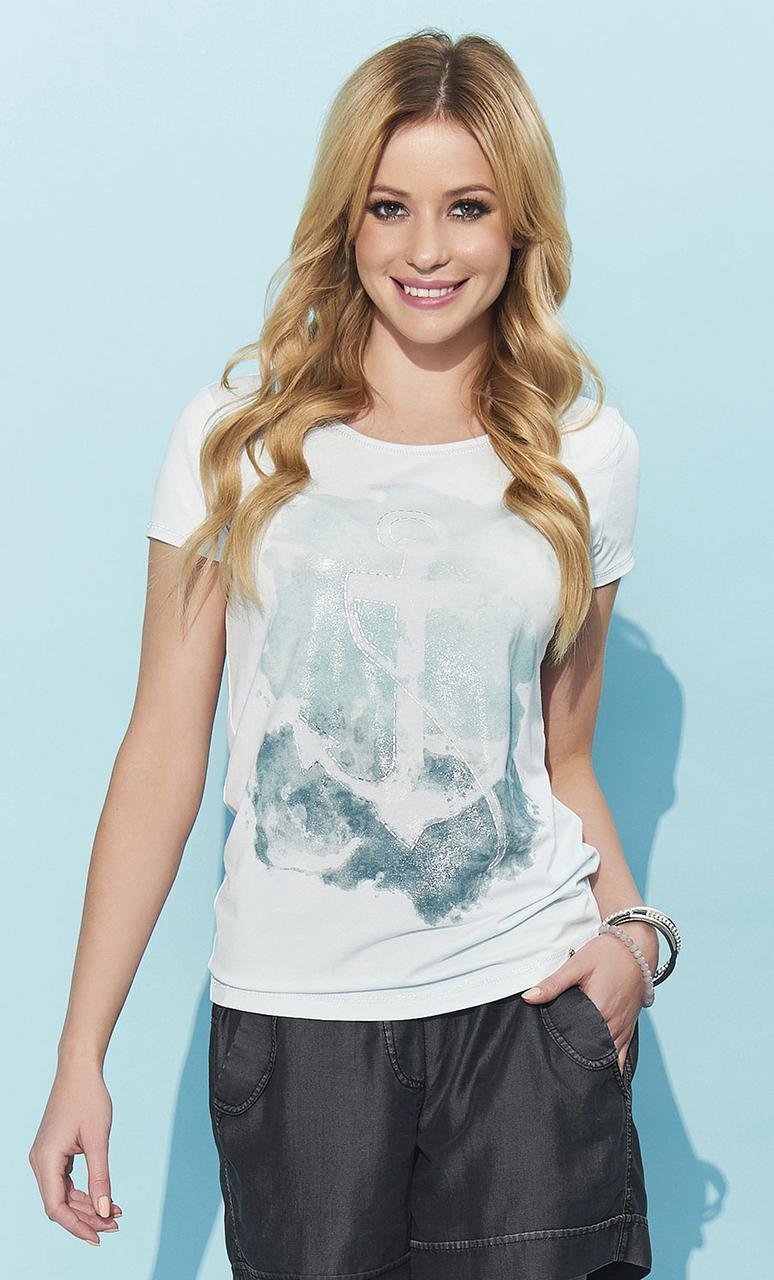 Летняя блуза мятного цвета с рисунком якорь. Модель Meg Zaps, коллекция весна-лето