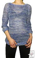 Женский джемпер синий Colour с крупной вязкой р. L 50