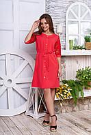 """Красивое платье-халат на кнопках с пояском и гипюровыми рукавами """"А-50"""" коралловое"""