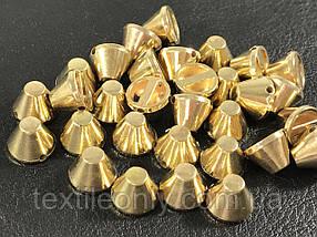 Шипи пластикові тупі пришивні колір золото 10х7 мм