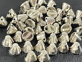 Шипи пластикові тупі пришивні колір срібло 10х7 мм