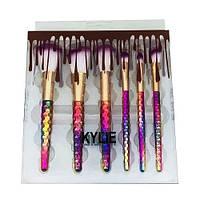 Набор кистей для макияжа Kylie цветные 6 шт.
