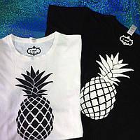 Парные футболки, с ананасом