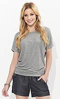 Летняя блузка серого цвета с коротким рукавом. Модель Mila Zaps, коллекция весна-лето 2018