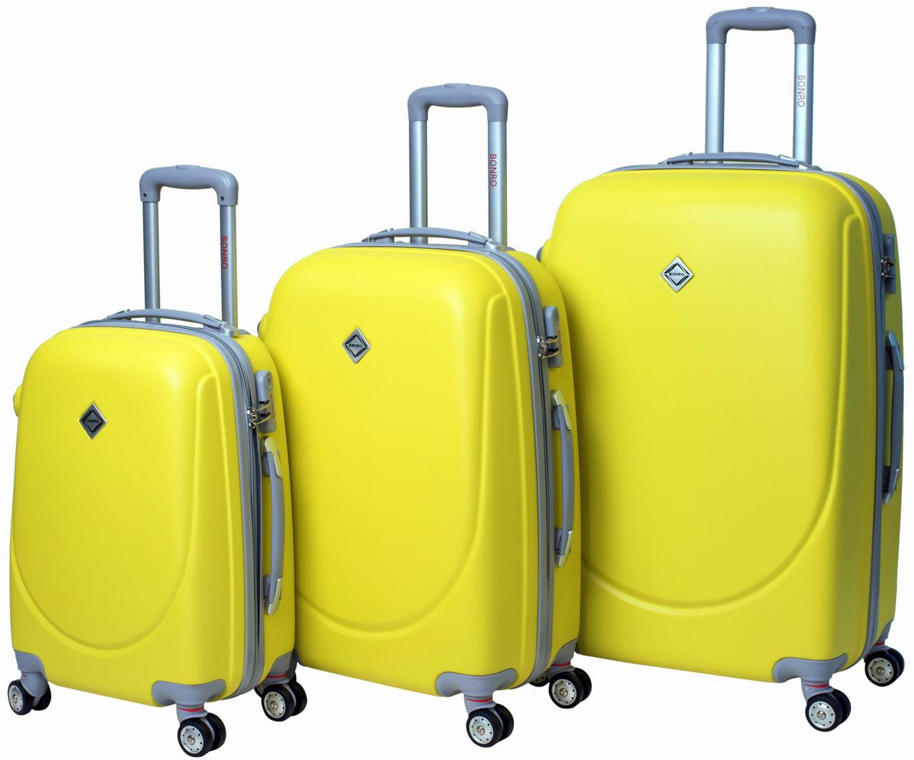 bd90d572b731 Набор чемоданов Bonro Smile 3 штуки с двойными колесами желтый (110065),  фото 1