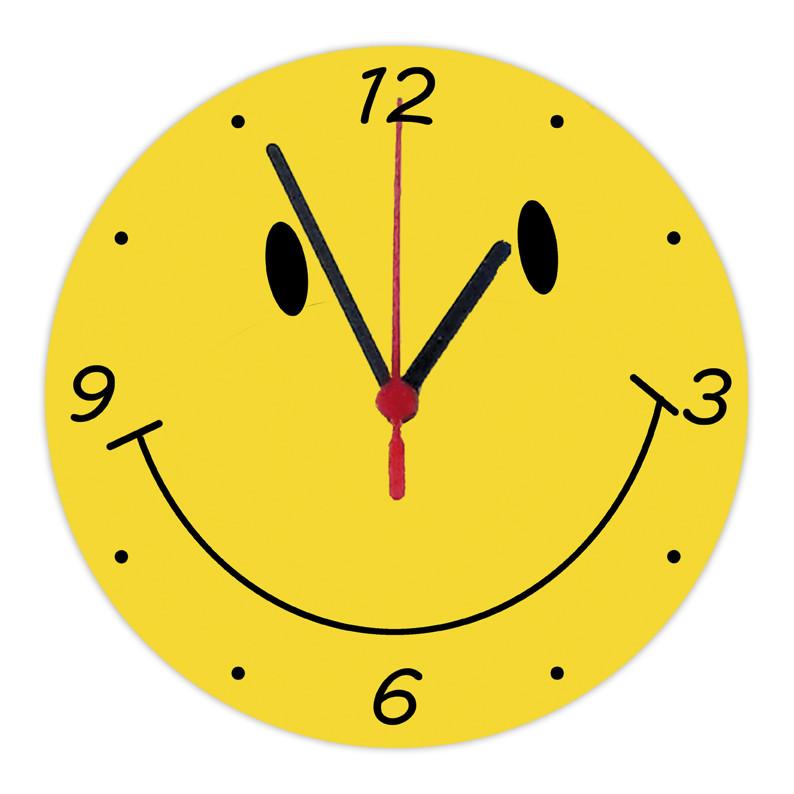 "настенные часы ""Смайл"" на стекле круглые"