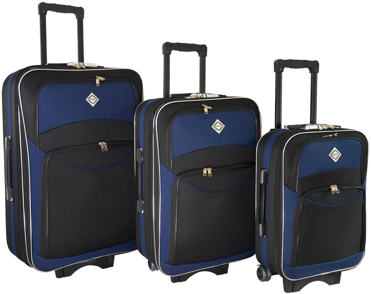 2e631a19115c Набор чемоданов Bonro Style 3 штуки черно-т.синий (110109)  продажа ...