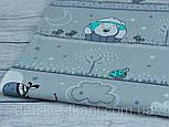 """Лоскут ткани №932 """"Мишки, жирафы, зебры"""", с мятными облаками на сером фоне , фото 2"""