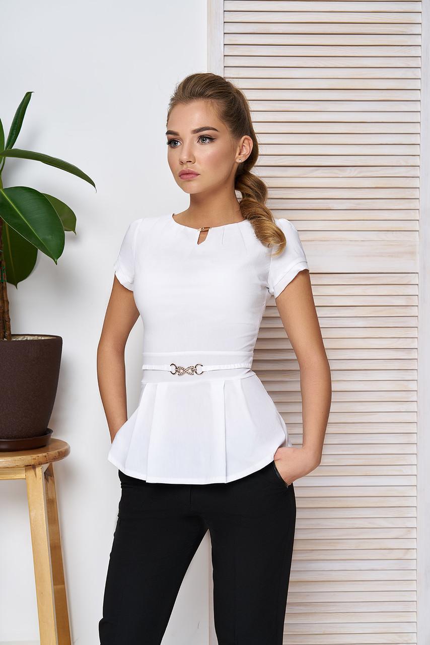 e09170c8feb Элегантная белая блузка с баской и пряжкой короткий рукав