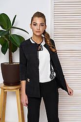"""Элегантный женский пиджак прямого кроя с карманами и рукавом 3/4 """"Вектор"""" (чёрный)"""