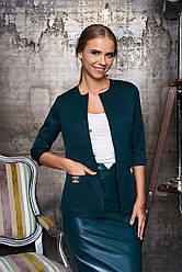 """Элегантный женский пиджак прямого кроя с карманами и рукавом 3/4 """"Вектор"""" (т/зелёный)"""
