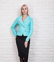 Стильный женский жакет в офисном стиле бирюзового цвета