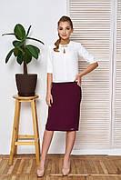 """Классический женский офисный костюм юбка и блузка """"Дорис"""" (бордо)"""