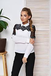 """Женская блузка-рубашка с ажурным кружевом,длинный рукав """"А-57"""" (белый)"""