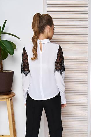 """Жіноча блузка-сорочка з ажурним мереживом,довгий рукав """"А-57"""" (білий), фото 2"""