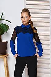 """Женская блузка-рубашка с ажурным кружевом,длинный рукав """"А-57"""" (электрик)"""