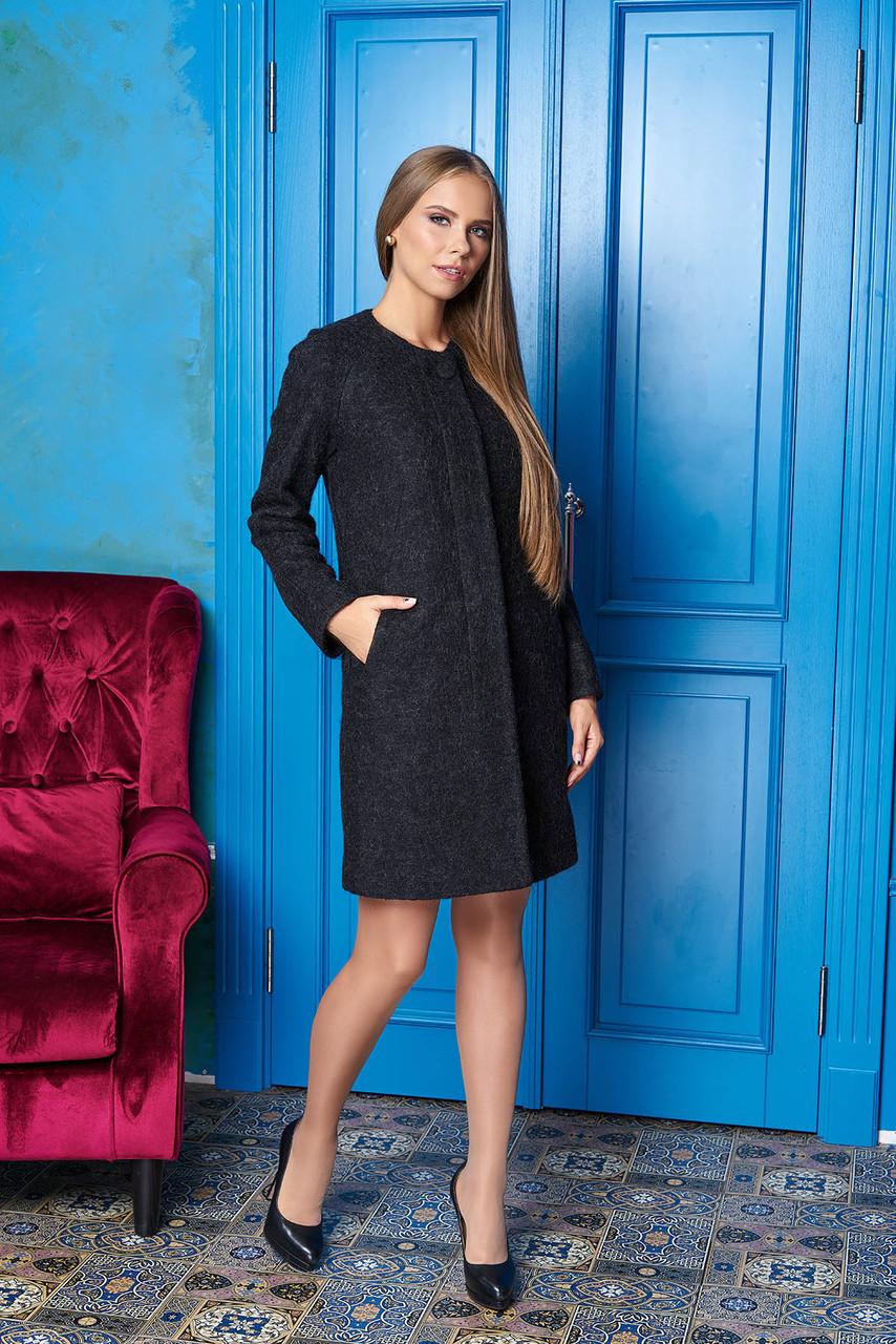"""Женское короткое пальто без воротника на осень """"Р-2"""" (чёрный)"""