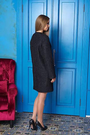 """Женское короткое пальто без воротника на осень """"Р-2"""" (чёрный), фото 2"""