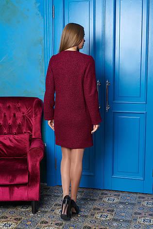 """Жіноче пряме пальто без коміра """"Р-2"""" (бордо), фото 2"""