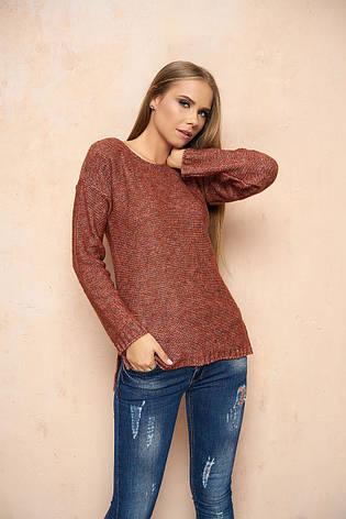 """Жіночий тонкий светр без коміра """"Березня"""" (теракотовий), фото 2"""