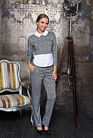 """Деловой женский брючный костюм в клетку с оригинальной блузкой """"Евдокия"""" (клетка серый)"""